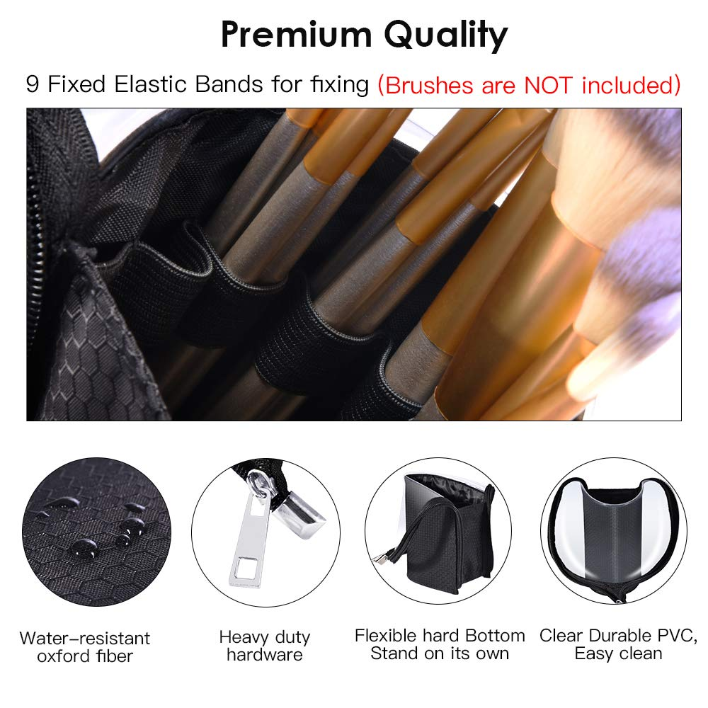 Travel Make-up Brush Cup Holder Organizer Bag, Pencil Pen Case for Desk, Clear Plastic Cosmetic Zipper Pouch, Portable Waterproof Dust-Free Stand-Up Small Toiletry Stationery Bag with Divider, Black by ROYBENS (Image #4)