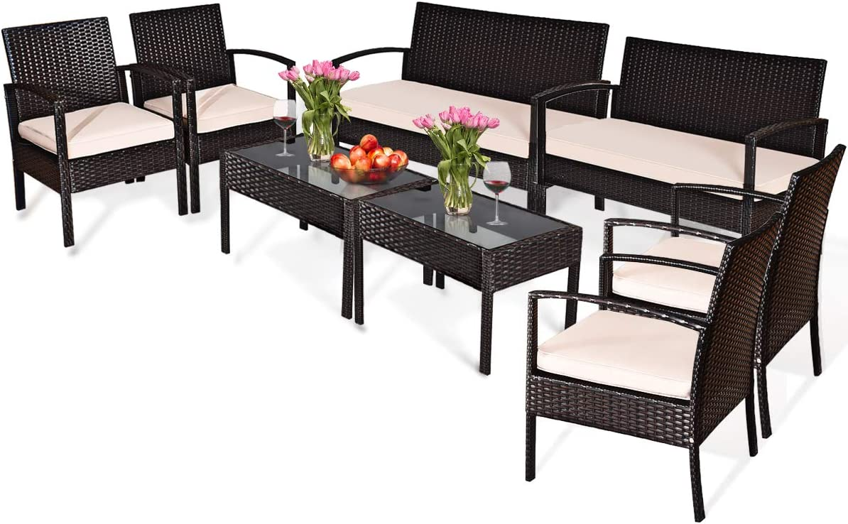 Tangkula 8 PCS Patio Furniture Sets, Rattan Chair Wicker Set, Outdoor Bistro Sets, w/Coffee Table & Washable Couch Cushions, for Porch, Backyard, Garden, Poolside (2)