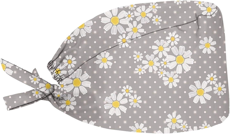 HUGS IDEA Tapas coloridas estampadas para coleta, coleta de caballo, diseño floral con punto de onda, color gris, con banda de algodón para el sudor, sombreros ligeros y transpirables, 6 piezas