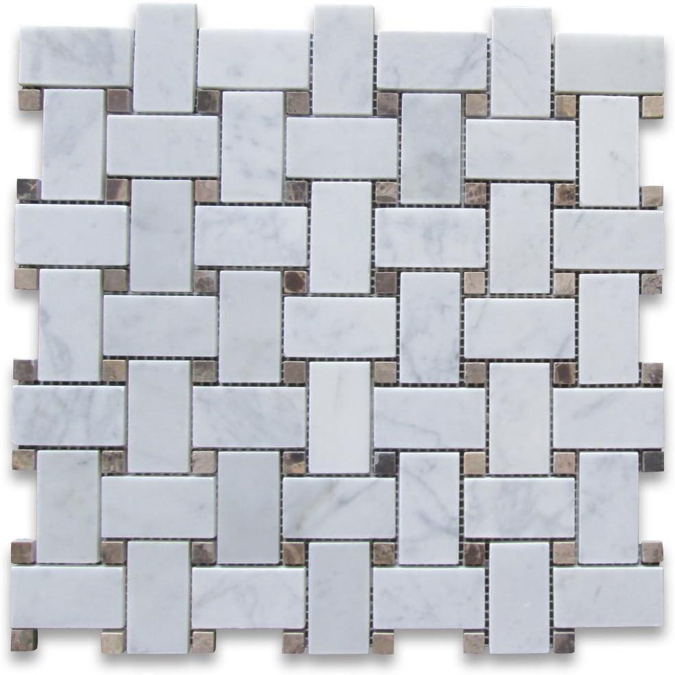 Stone Center Online Carrara White Italian Carrera Marble Subway Brick Mosaic Tile 1x2 Tumbled Non Slip Venato Bianco Bathroom Shower Floor Tile