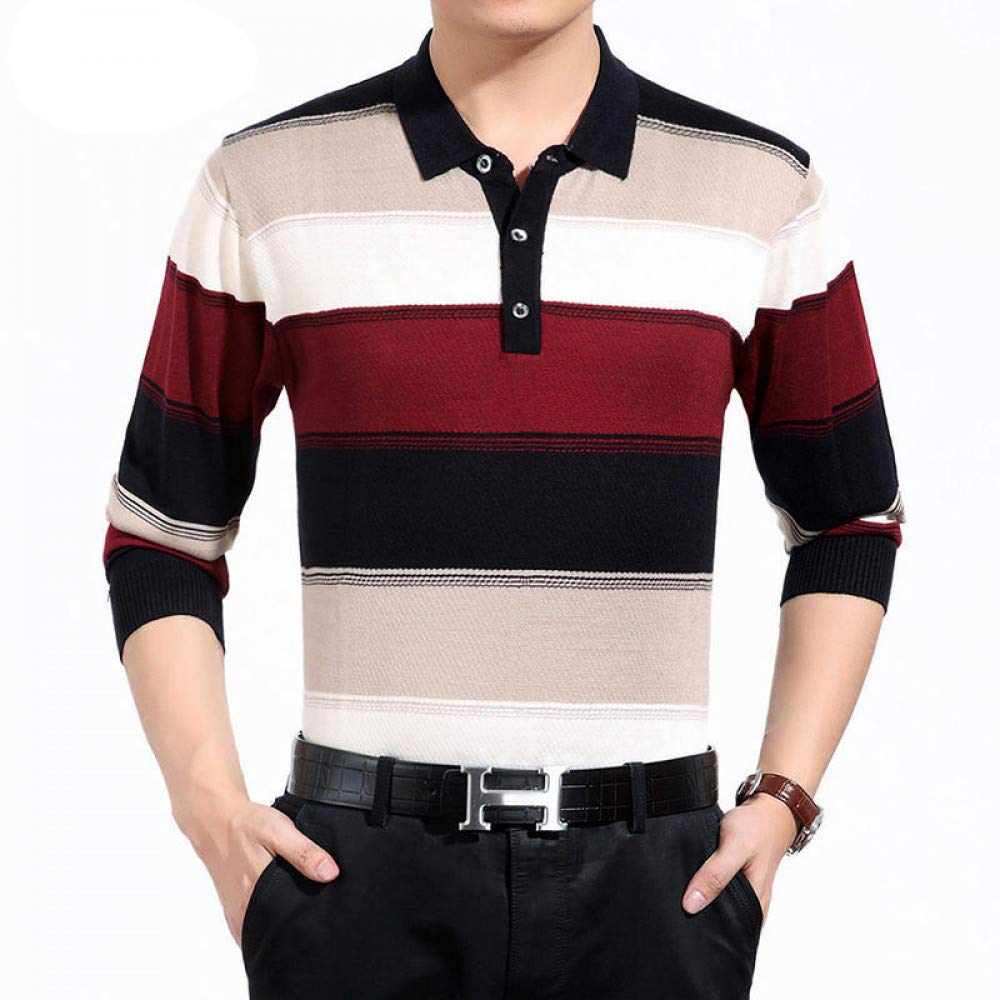 FEIDAO Männer Pullover Pullover Herren Kleidung   Geschäft Fashion Big Striped Umlegekragen Pullover Homme