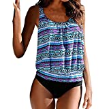 Women's Two Piece Tankini Sets Plus Size Swimsuits with High Waist Bottoms Swimming Costumes
