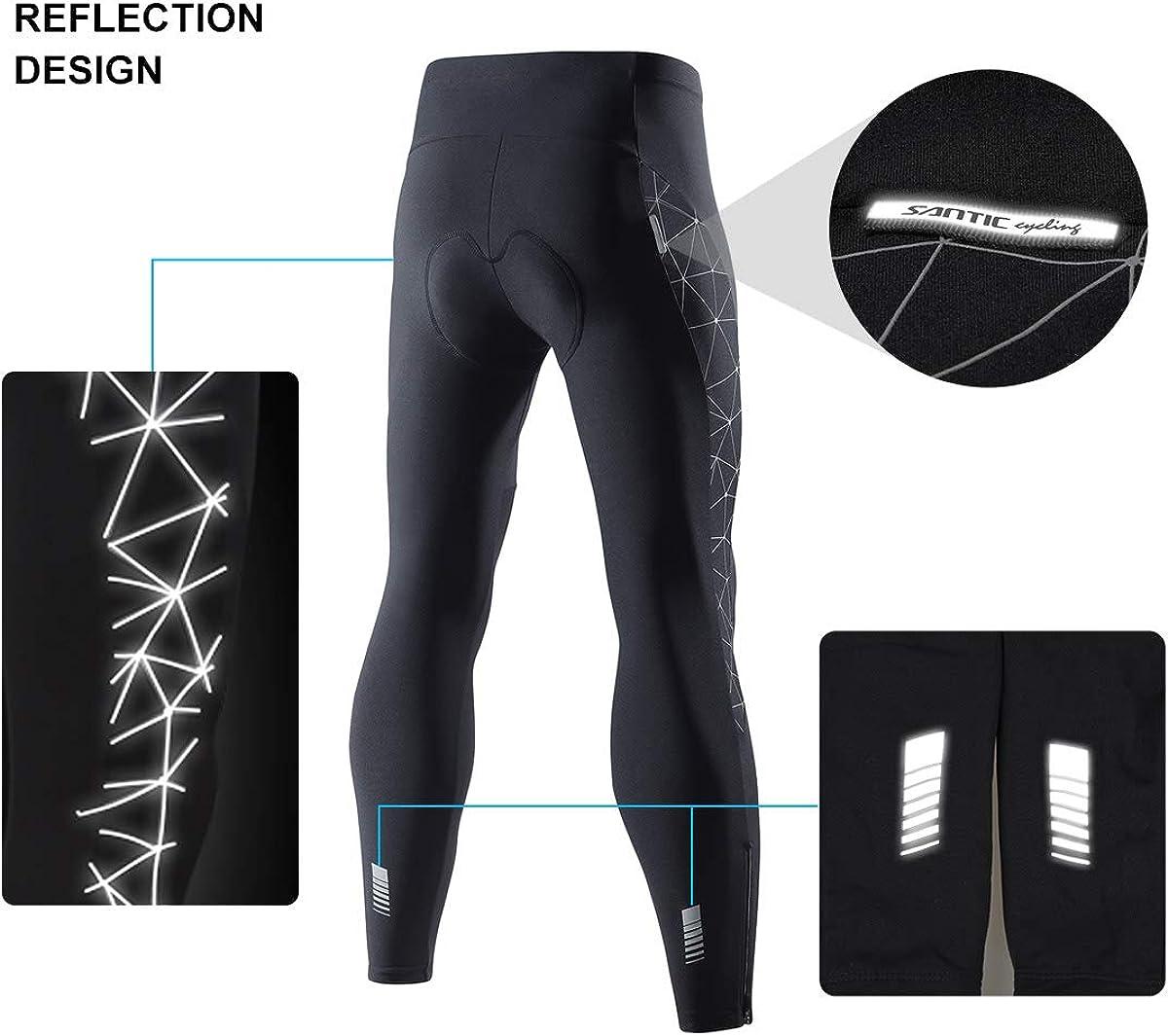 Santic Cycling Tights Fleece Thermal Padded Bicycle Pants Reflective Winter Leggings