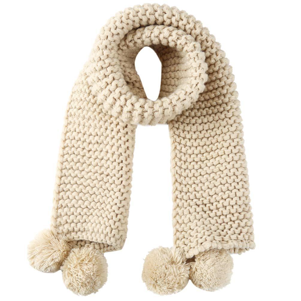 Kids Girls Boys Knitted Scarf Warm Winter Soft Wrap Shawl Neck Warmer with Cute Pompon Khaki