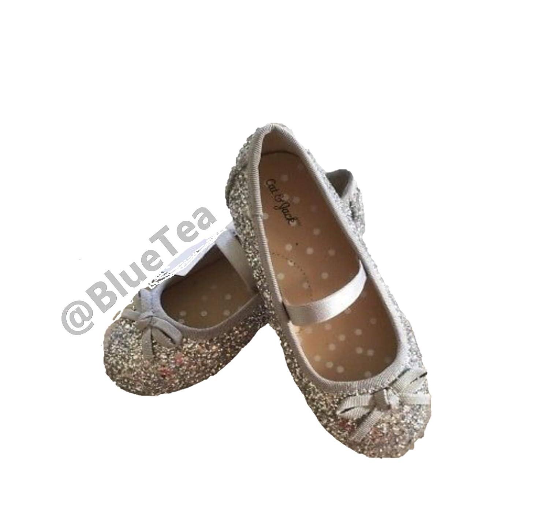 9d26b5fc4b91 Amazon.com | Cat & Jack Toddler Girls' Cacey Black/Silver Glitter Bow Ballet  Flats | Flats