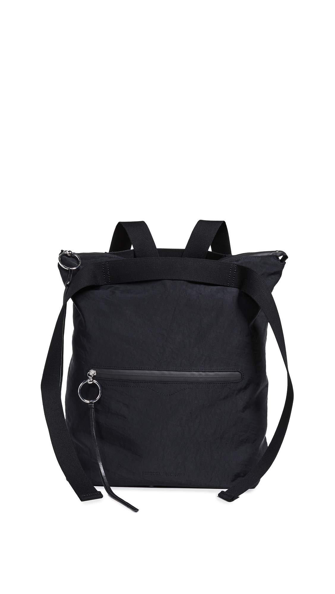 Rebecca Minkoff Women's Nylon Tote Backpack, Black, One Size