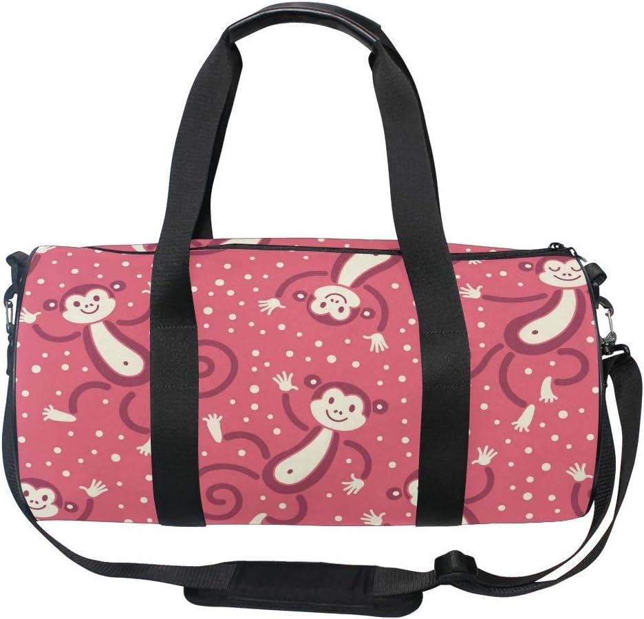 MALPLENA Red Happy Monkey Drum gym duffel bag women Travel Bag