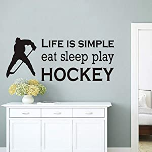 Hockey Sports Wall Decor Sticker Life is Simple Eat Sleep Play Hockey Quotes Wall Decal Kids Room Boys Bedroom Wall Mural YM-183 (42X114CM, Black)