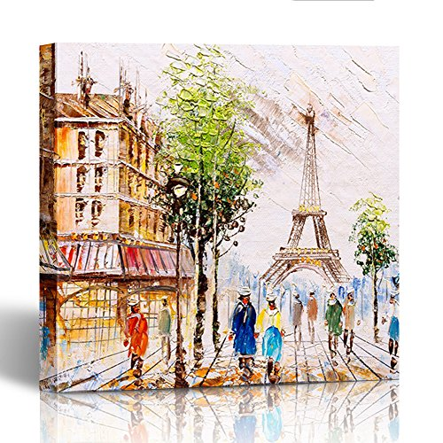 France Oil Painting - Emvency Painting Canvas Print Square 12x12 Inches Colorful Watercolor Oil Painting Street View of Paris Abstract France Acrylic Wall Art Decoration Wrapped Wooden Frame