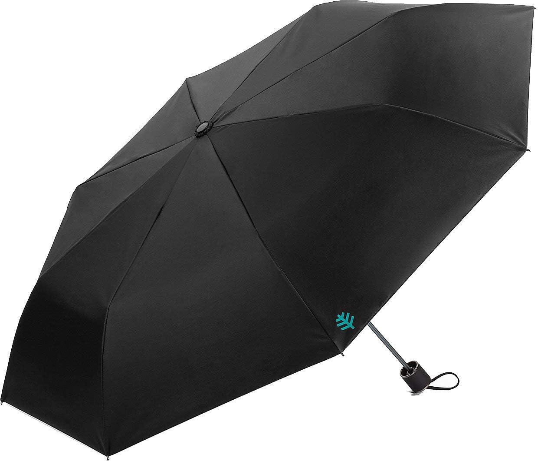 Coolibar UPF 50+ Bund Compact Umbrella - Sun Protective (One Size- Black)