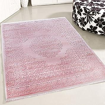 Moderner Teppich Wohnzimmer Rosa 3D Struktur Karo Muster Glitzer Effekt NEU