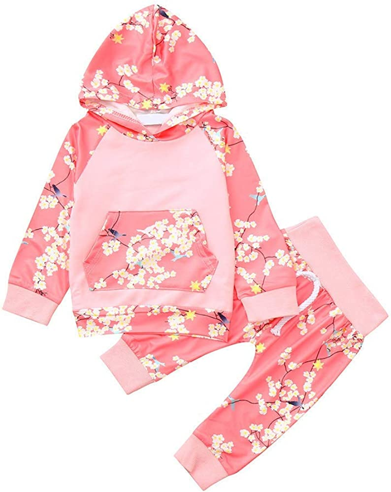 Staron  Newborn Baby Hoodie Tops Long Sleeve Floral Print Hooded Top+Pants Outfit Set