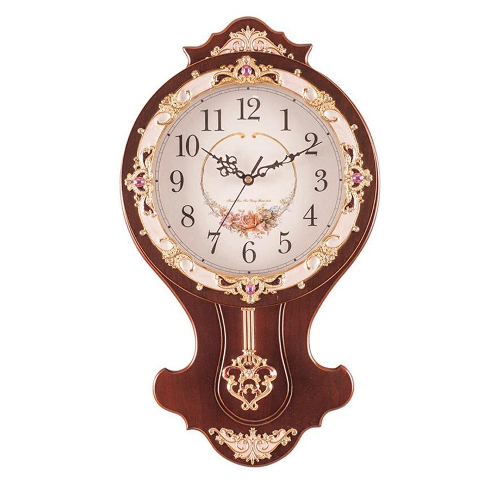 GAOLILI リビングルームベッドルーム時計モダンラウンド木製クリエイティブデコレーションクロック ( 色 : B ) B07C3W9B4NB