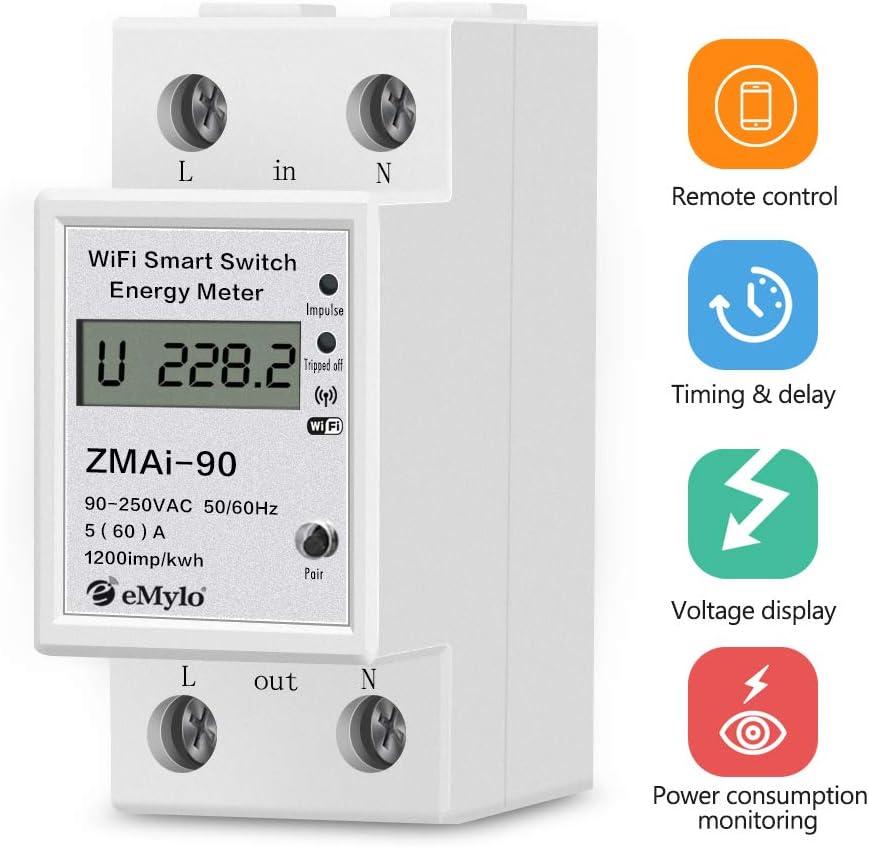 Smart WiFi Energy Electric Meter Smart Life Tuya APP Single Phase Din Rail Watt-Hour Meter Digital Display Household Energy Meter 1P 220V Power Consumption Monitor kWh Ammeter