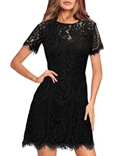b1a65ec074fcd Women's Elegant Rounded Neck Short Sleeves V-Back Lace Cocktail Party A Line  Dress 910