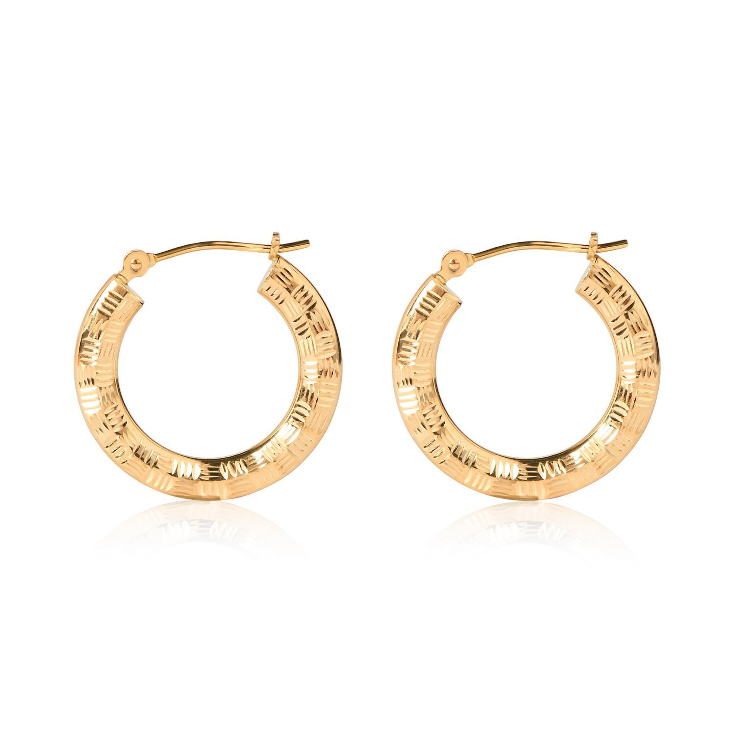 Olivias Collection 14kt Yellow Gold Diamond Cut Hoop Earrings 20-25mm