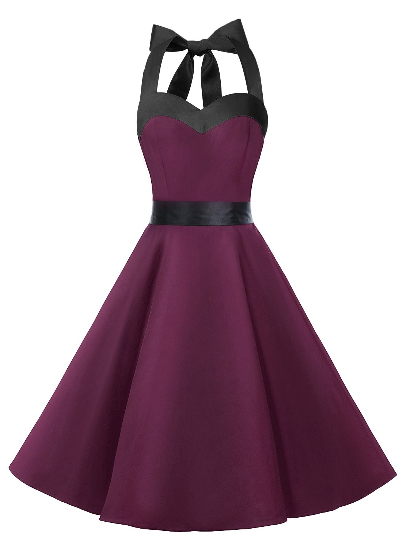 DRESSTELLS Vintage 1950s Rockabilly Polka Dots Audrey Dress Retro Cocktail Dress Burgundy Black M