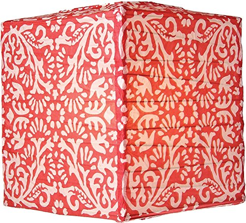 Luna Bazaar Block Printed Premium Square Paper Lantern Clip-On Lamp Shade for Home Decor and Wedding Decorations 12-Inch Red