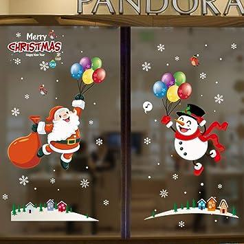 Christmas Wall Decals Removable.Amazon Com Christmas Wall Sticker Santa Claus Snowman