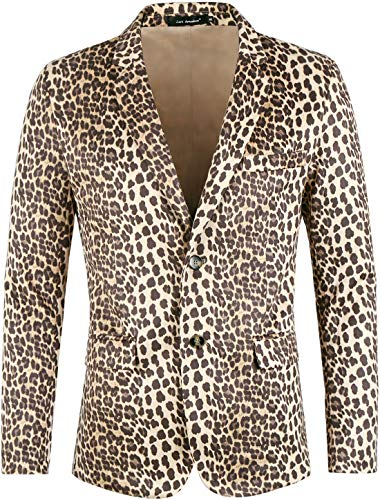Lars Amadeus Men Vintage Leopard Print Luxury Notched Lapel Slim Fit Fashion Stylish Jacket Blazer Brown Medium