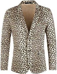 Lars Amadeus Men Vintage Animal Print Luxury Notched Lapel Slim Fit Fashion Stylish Jacket Blazer