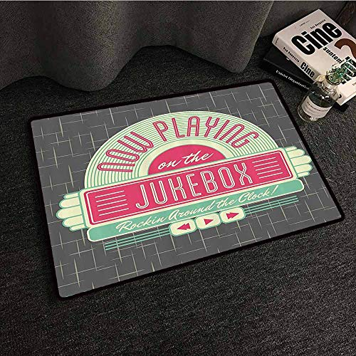 Jukebox Non-Slip Door mat Charcoal Grey Backdrop with 50s Inspired Radio Music Box Image Durable W20 xL31 Mint Green Hot Pink and White