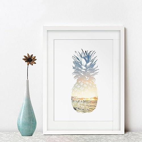 Amazon.com: Pineapple Art Print Sea Beach Decor Wall Art Sunshine ...