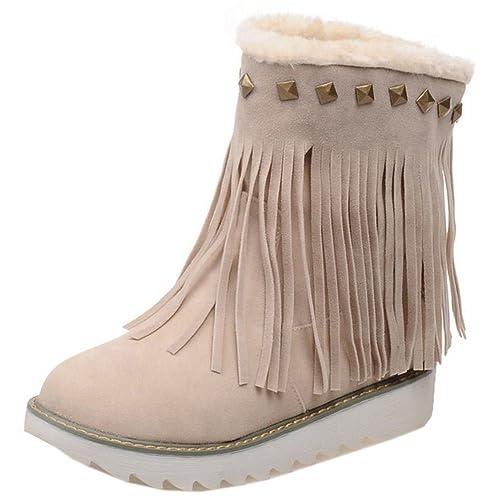 RAZAMAZA Botas Mujer Botines Clasicos con Flecos Zapatos Beige Size 34 Asian: Amazon.es: Zapatos y complementos
