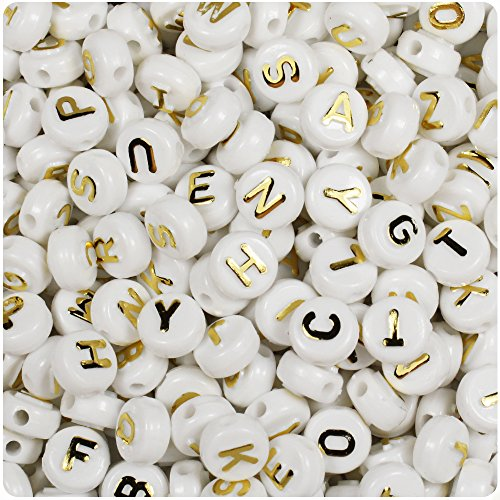 BEADTIN White Opaque w/Gold Letters 10mm Disc Coin Alphabet Beads (144pc)