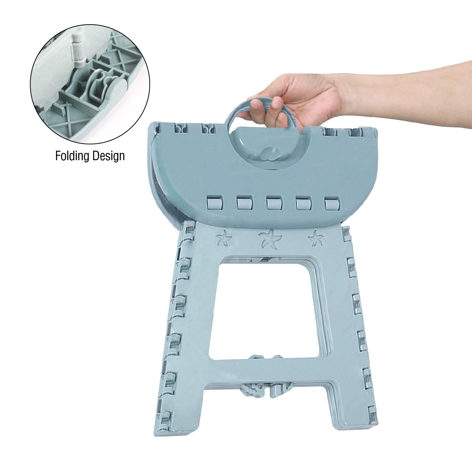 Portable Chair with Handle 11 Height Folding Step Stool Blue, 2Pack