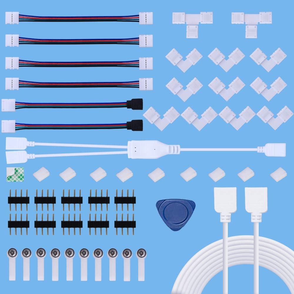 Kit de Conector de Tira de LED,Kits de Conectores de Tiras LED sin Soldadura para 4 Pines 10 mm 5050 RGB con Cable Divisor de 2 Vías,Cable de Extensión de 2 M,Conector de Forma de T y L