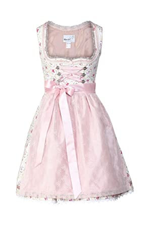 48ac7b5e5eb19 MarJo Damen Mini Dirndl Tambra, Creme/rosa D000328 44: Amazon.de ...