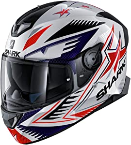 Shark Unisex-Adult Full Face Helmet (White/Blue/Red, M - 57-58 cm - 22.4-22.8'')
