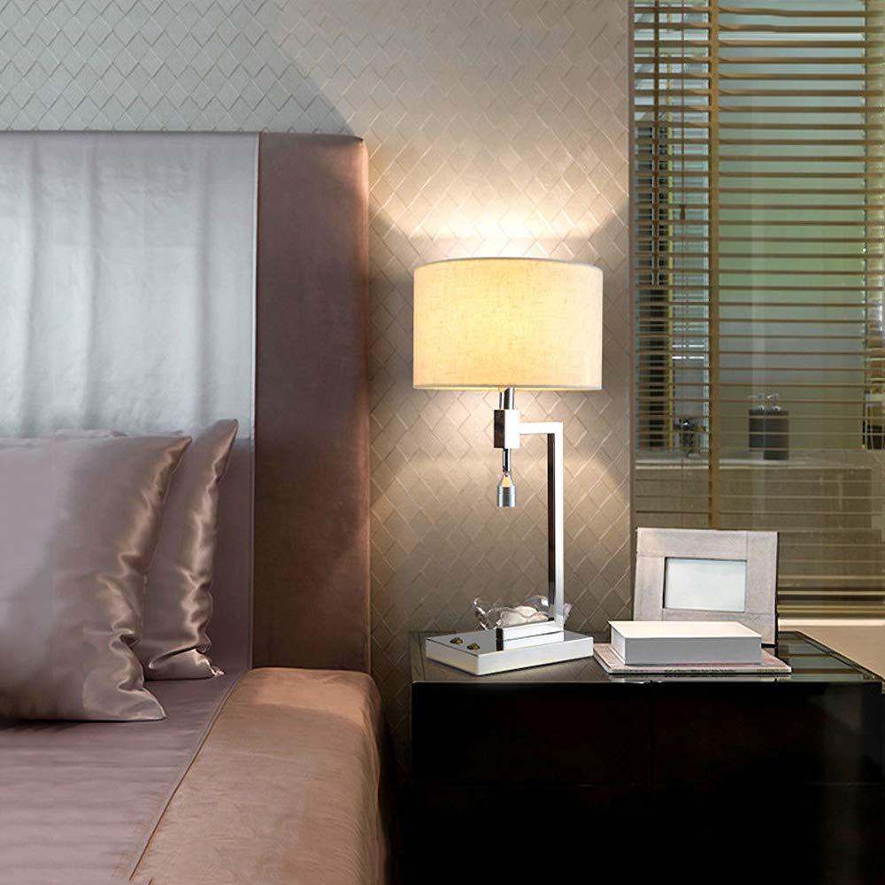 ZMH LED Tischlampe mit separat schaltbarer LED-Leselampe Tischlampe, Nachttischlampe aus aus aus Metall und Stoff, perfect für Wohnzimmer, Schlafzimmer, Hotel, E27 Leuchtmittel inklusiv 2a3cee