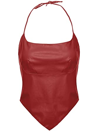41acfb6d3b Envy Boutique Women s Bustier Top Pvc Pu Faux Leather Sexy Vintage Halter  Neck - UK 10