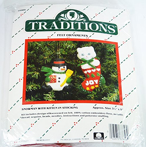 Snowman and Kitten Ornament Kit #T8009 by Traditions