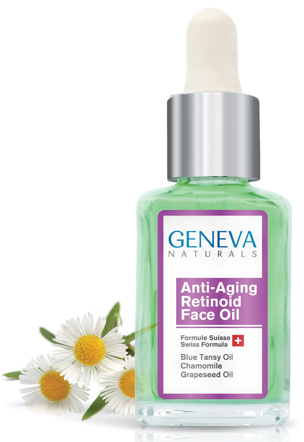 Retinoid Sleeping Night Oil - Natural Swiss Anti-Aging Formula with Blue Tansy Oil, Chamomile, and Grapeseed Oil for Men & Women - 1oz Geneva Naturals