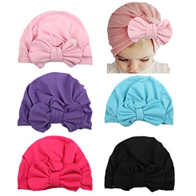 Qandsweet Baby Girl Hat with Bow 5 Pcs Caps for Toddler and Kids 1-5T