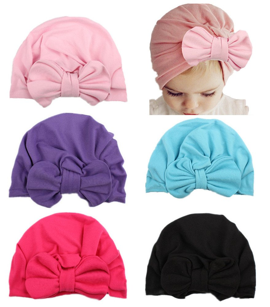 QandSweet Baby Girl Hat with Bow Adjustable Caps for Toddler and Kids 1-5T Value set (5 Colors)