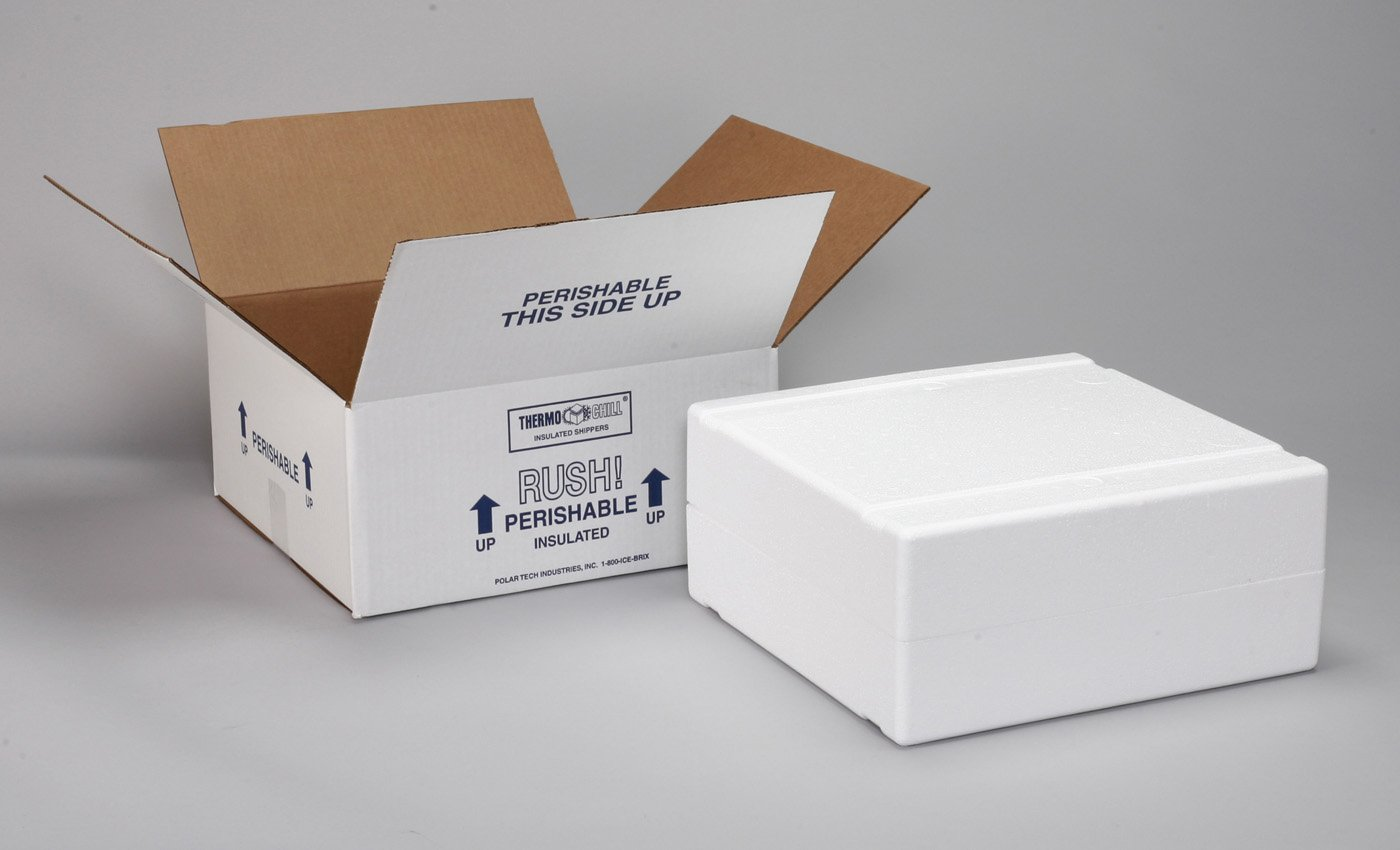 """Polar Tech XM15C Thermo Chill Expand-em Series Insulated Carton with Foam Shipper, 10-5/8"""" Length x 6-1/2"""" Width x 5"""" Depth (Case of 4)"""
