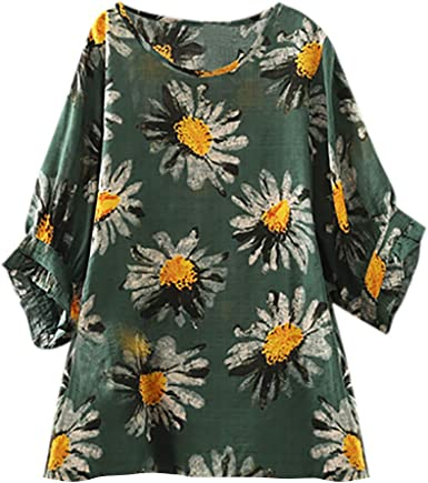 Summer Tops for Women Casual Short Sleeve Loose Fit Sunflower Graphic Tees Vintage Shirts Blouses