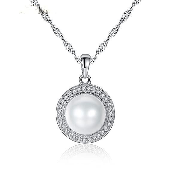 S925 Sterling Silver Freshwater Cultured Pearl Jewelry Halo Style (1pc necklace)