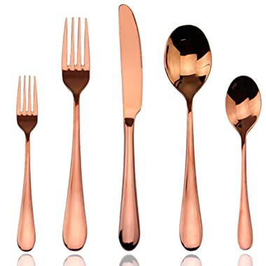 Flatware Sets Rose Gold, AOOSY Luxury 20 Pieces Rose Gold Plated Copper Color 18/10 Stainless Steel Silverware Flatware Sets Spoons Knives and Forks Set, Service for 4 People