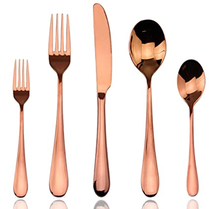 Cutlery Set Rose Gold, AOOSY 5 Piece Rose Gold Plated Stainless Steel Silverware  Flatware Sets
