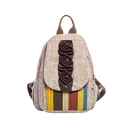 b1d781ee53 Sunny Travel Bag Di Stile Etnico Donne Zaino Casuale Della Tela Di Canapa  Letterario Retro (
