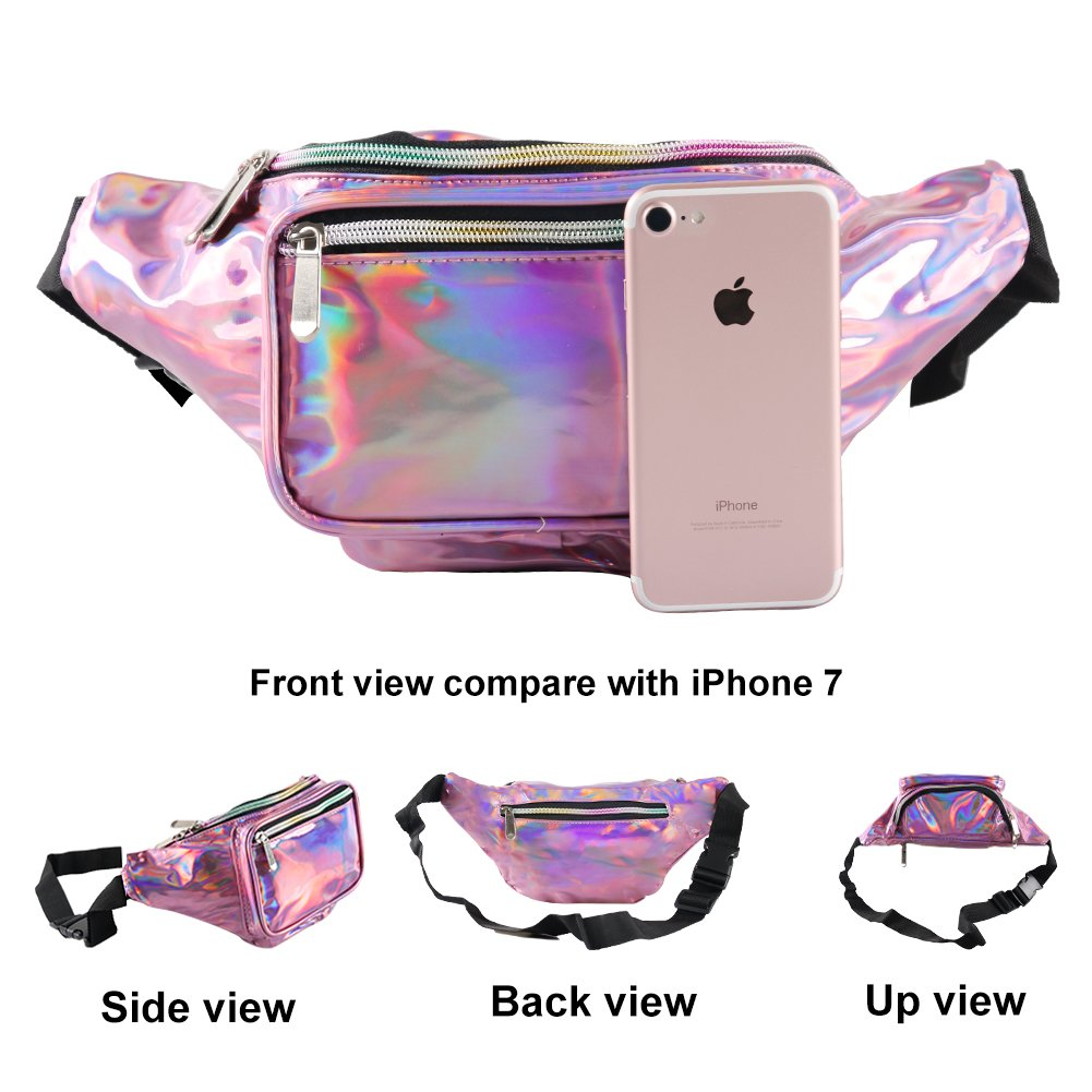 Holographic Fanny Pack for Women - Waist Fanny Pack with Adjustable Belt for Rave, Festival, Travel, Party by Mum's memory (Image #2)