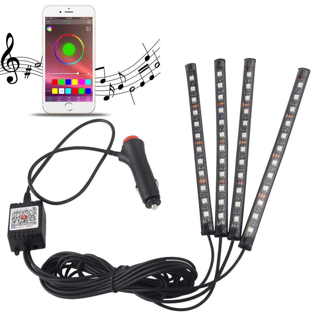 Commande Vocale Lumi/ères de Bande de Voiture 48 LED Multicolore de Voiture LED Voiture Interieur Lampe USB Rubans Led D/écoration Lampe Atmosph/ère Lumi/ère Bandes T/él/écommande sans fil Musique