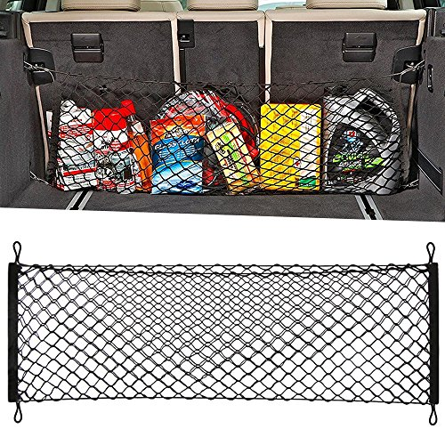 (9 MOON Adjustable Elastic Heavy Duty Cargo Net - Universal Stretchable Truck Net with Hooks | Organizer, Storage, Mesh, Nylon, Bungee | for Car, SUV, Truck, Black)