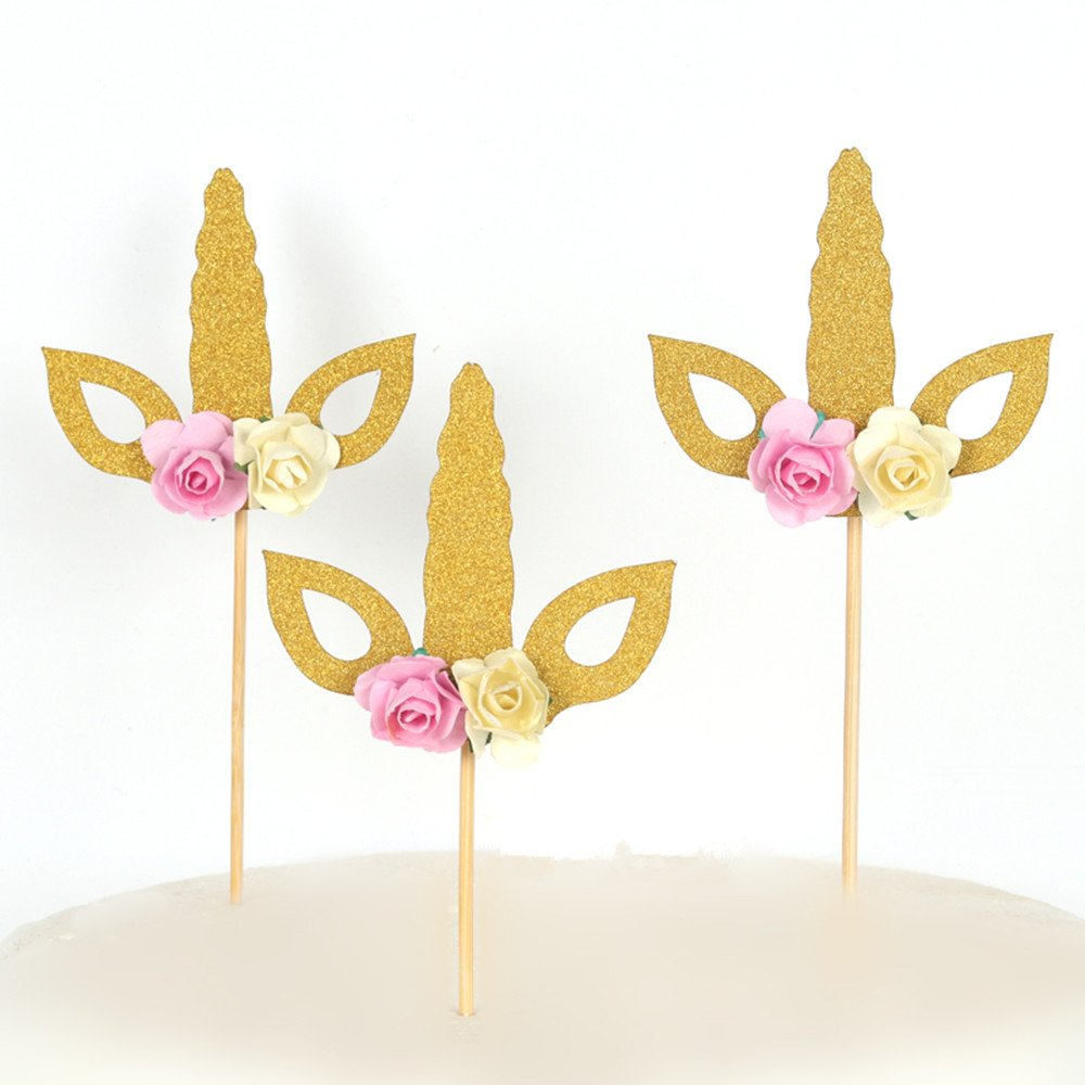 Set of 12 Glitter Gold Unicorn Cake Topper Unicorn Horn Cupcake Topper Party Decor Baby Shower One Cake Topper