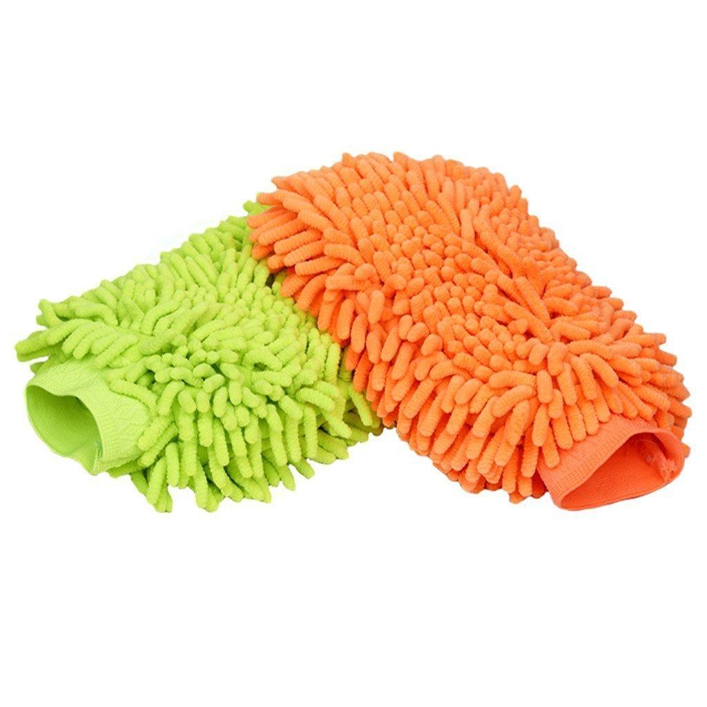 UTowels Microfiber Premium Chenille Wash Mitts (1 Green Mitt + 1 Orange Mitt) 1GN1OJ_Mitt